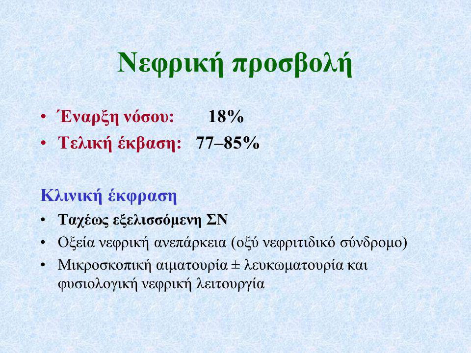 Εκλογή θεραπείας συντήρησης (2012 KDIGO) Aζαθειοπρίνη 1–2 mg/kg/24ωρο (1B) MMF σε δόση μέχρι 1 g 2 φορές την ημέρα για τους ασθενείς που είναι αλλεργικοί ή δεν ανέχονται την αζαθειοπρίνη (2C) Μεθοτρεξάτη (αρχικά 0,3 mg/kg/εβδομάδα, max 25 mg/εβδομάδα) στους ασθενείς που δεν ανέχονται την αζαθειοπρίνη και το MMF (εφόσον GFR >60 ml/min/1,73 m 2 ) (1C) Τριμεθοπρίμη-σουλφαμεθοξαζόλη ως επιπρόσθετη αγωγή σε ασθενείς με προσβολή του ανώτερου αναπνευστικού (2B) Nα μη χρησιμοποιείται ετανερσέπτη ως ενισχυτική θεραπεία (1A)