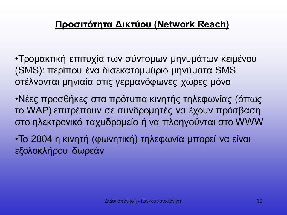 Διεθνοποίηση - Παγκοσμιοποίηση12 Προσιτότητα Δικτύου (Network Reach) Τρομακτική επιτυχία των σύντομων μηνυμάτων κειμένου (SMS): περίπου ένα δισεκατομμ