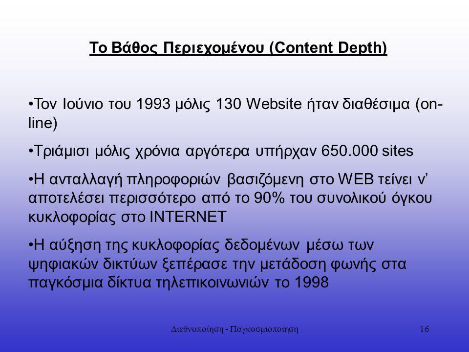 Διεθνοποίηση - Παγκοσμιοποίηση16 Το Βάθος Περιεχομένου (Content Depth) Τον Ιούνιο του 1993 μόλις 130 Website ήταν διαθέσιμα (on- line) Τριάμισι μόλις
