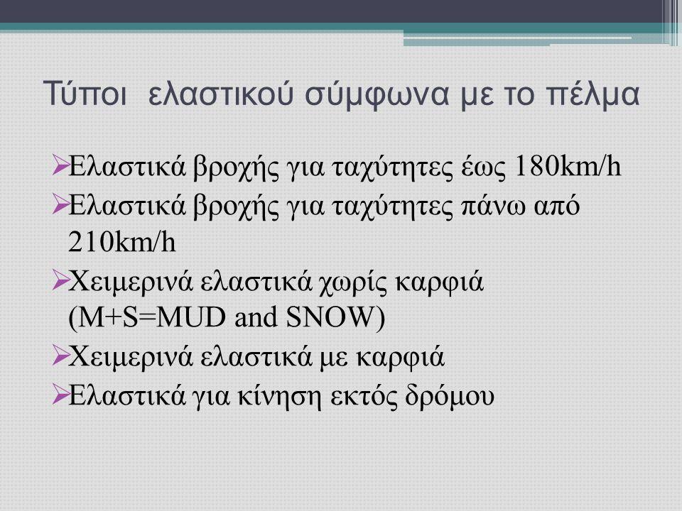  Ελαστικά βροχής για ταχύτητες έως 180km/h  Ελαστικά βροχής για ταχύτητες πάνω από 210km/h  Χειμερινά ελαστικά χωρίς καρφιά (Μ+S=MUD and SNOW)  Χειμερινά ελαστικά με καρφιά  Ελαστικά για κίνηση εκτός δρόμου Τύποι ελαστικού σύμφωνα με το πέλμα