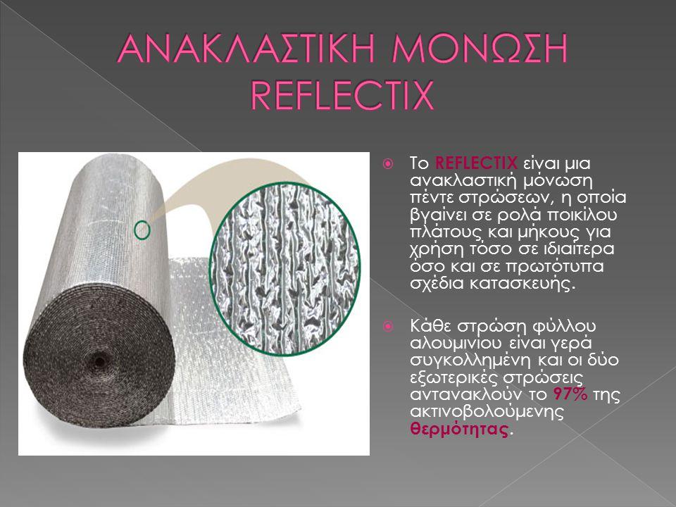  Το REFLECTIX είναι μια ανακλαστική μόνωση πέντε στρώσεων, η οποία βγαίνει σε ρολά ποικίλου πλάτους και μήκους για χρήση τόσο σε ιδιαίτερα όσο και σε
