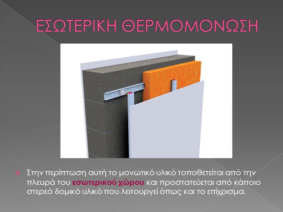  Στην περίπτωση αυτή το μονωτικό υλικό τοποθετείται από την πλευρά του εσωτερικού χώρου και προστατεύεται από κάποιο στερεό δομικό υλικό που λειτουργ