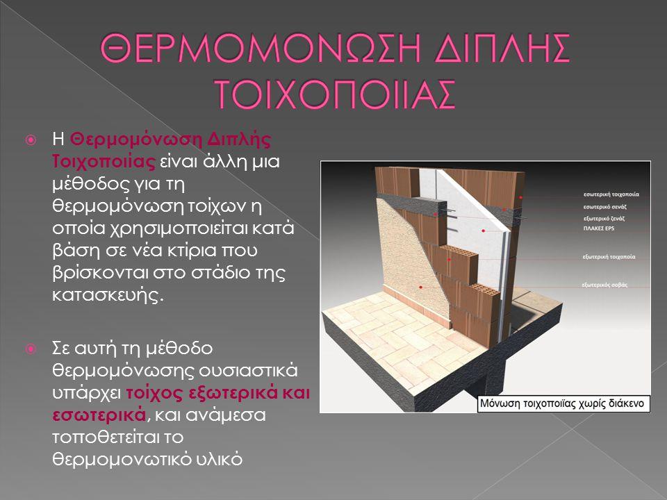  Η Θερμομόνωση Διπλής Τοιχοποιίας είναι άλλη μια μέθοδος για τη θερμομόνωση τοίχων η οποία χρησιμοποιείται κατά βάση σε νέα κτίρια που βρίσκονται στο