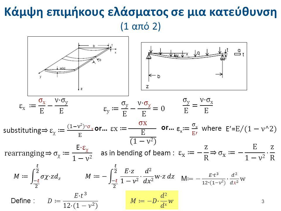 Κάμψη επιμήκους ελάσματος σε μια κατεύθυνση (2 από 2) 4 Moment relationships are the same : Simply supported : Clamped : (figure not shown) K=0,75 simply supported K=0,5 clamped N.B.stress is + & - from bending