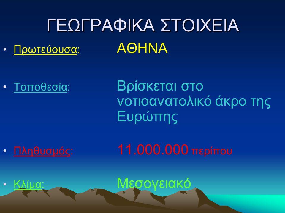 ΓΕΩΓΡΑΦΙΚΑ ΣΤΟΙΧΕΙΑ Πρωτεύουσα: ΑΘΗΝΑ Τοποθεσία: Βρίσκεται στο νοτιοανατολικό άκρο της Ευρώπης Πληθυσμός: 11.000.000 περίπου Κλίμα: Μεσογειακό