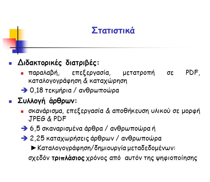 Διδακτορικές διατριβές: παραλαβή, επεξεργασία, μετατροπή σε PDF, καταλογογράφηση & καταχώρηση  0,18 τεκμήρια / ανθρωποώρα Συλλογή άρθρων: σκανάρισμα, επεξεργασία & αποθήκευση υλικού σε μορφή JPEG & PDF  6,5 σκαναρισμένα άρθρα / ανθρωποώρα ή  2,25 καταχωρήσεις άρθρων / ανθρωποώρα ► Καταλογογράφηση/δημιουργία μεταδεδομένων: σχεδόν τριπλάσιος χρόνος από αυτόν της ψηφιοποίησης Στατιστικά