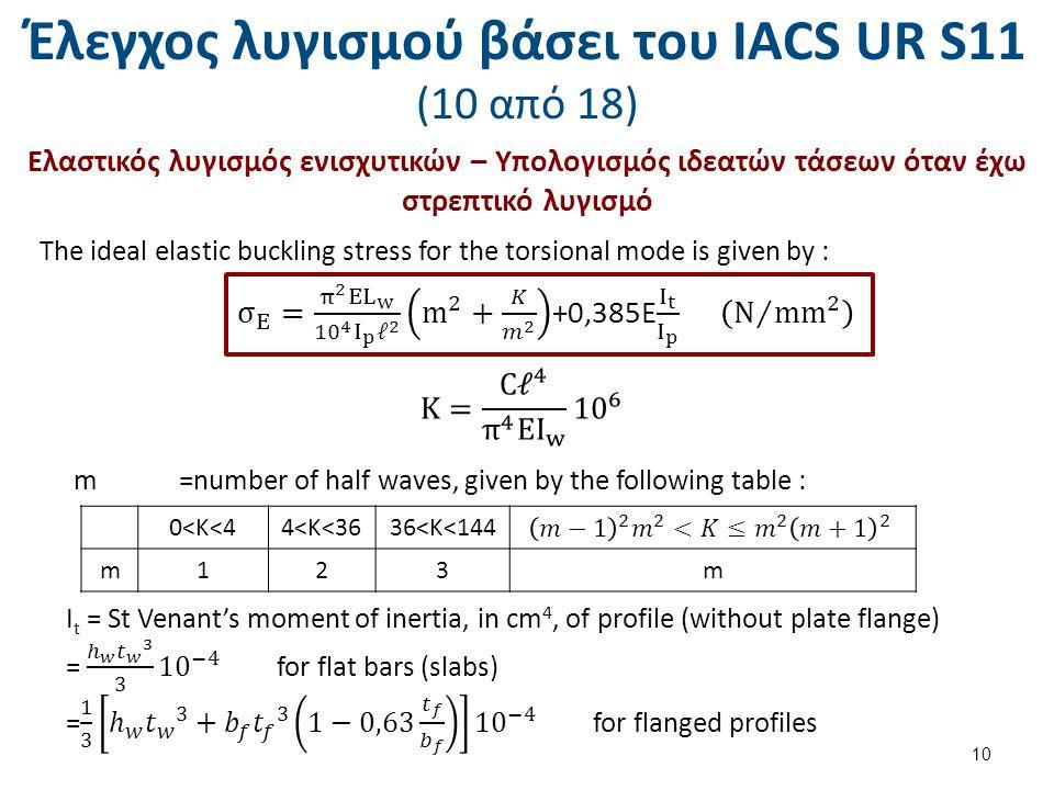 Έλεγχος λυγισμού βάσει του ΙΑCS UR S11 (10 από 18) Ελαστικός λυγισμός ενισχυτικών – Υπολογισμός ιδεατών τάσεων όταν έχω στρεπτικό λυγισμό The ideal el