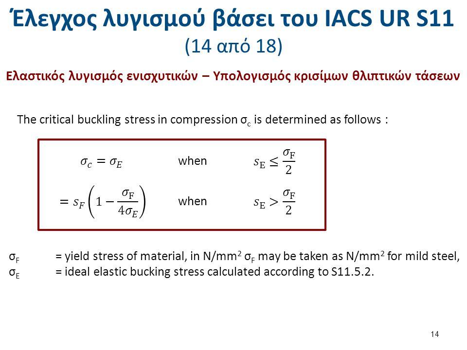 Έλεγχος λυγισμού βάσει του ΙΑCS UR S11 (14 από 18) Ελαστικός λυγισμός ενισχυτικών – Υπολογισμός κρισίμων θλιπτικών τάσεων The critical buckling stress