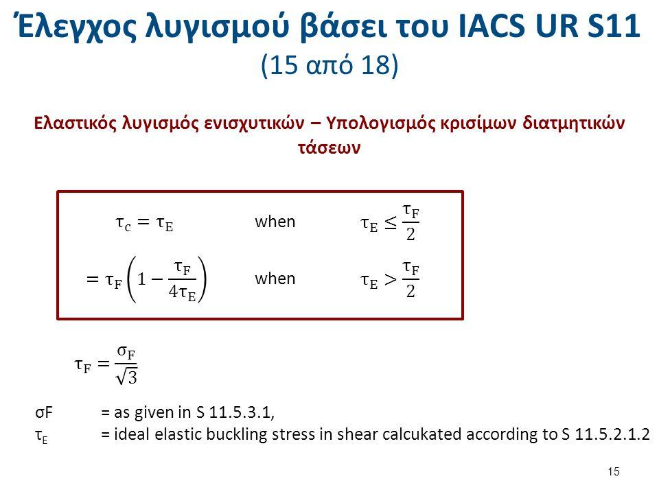 Έλεγχος λυγισμού βάσει του ΙΑCS UR S11 (15 από 18) Ελαστικός λυγισμός ενισχυτικών – Υπολογισμός κρισίμων διατμητικών τάσεων when σF= as given in S 11.