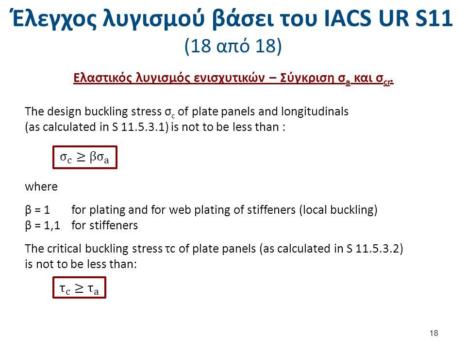 Έλεγχος λυγισμού βάσει του ΙΑCS UR S11 (18 από 18) Ελαστικός λυγισμός ενισχυτικών – Σύγκριση σ a και σ cr. The design buckling stress σ c of plate pan