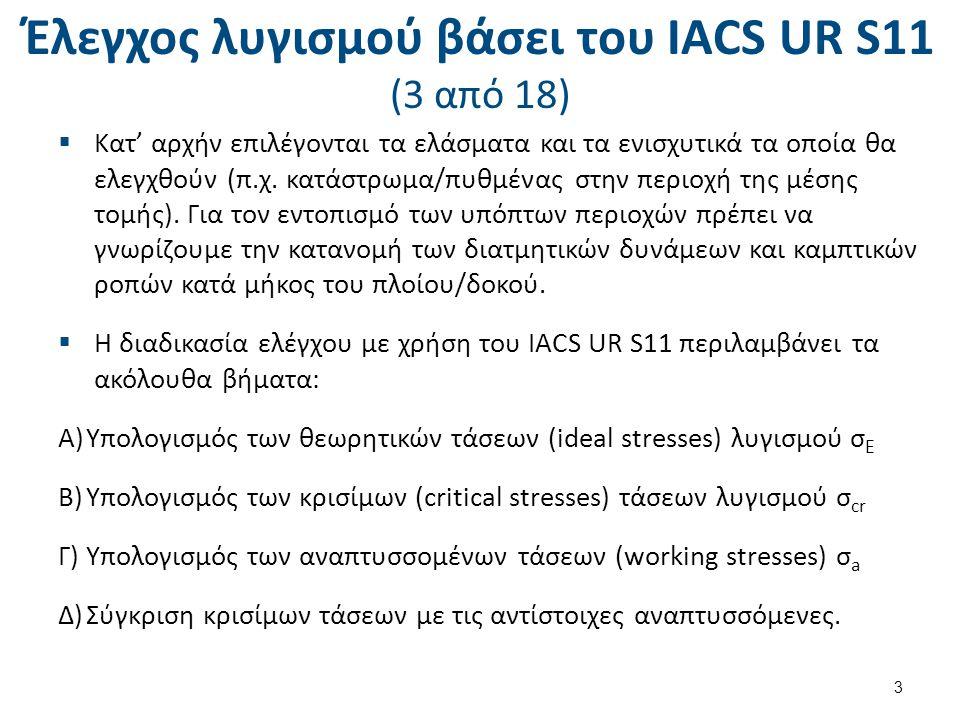 Έλεγχος λυγισμού βάσει του ΙΑCS UR S11 (4 από 18) Application These requirements apply to plate panels and longitudinals subject to hull girder bending and shear stresses.