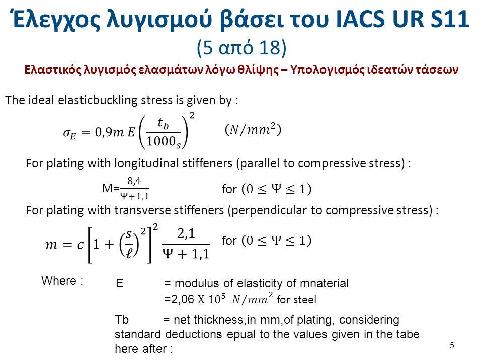Έλεγχος λυγισμού βάσει του ΙΑCS UR S11 (16 από 18) Ελαστικός λυγισμός ενισχυτικών – Υπολογισμός αναπτυσσομένων θλιπτικών τάσεων M s = still water bending moment (kN.m), as given in S 11.2.1, M w = wave bending moment (kN.m) as given in S 11.2.2.1, I n = moment of inertia, in cm4, of the hull girder, y= vertical distance, in m, from neutral axis to considered point, k= as specofied in S 11.3.1.1 (i).