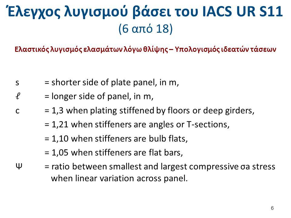 Έλεγχος λυγισμού βάσει του ΙΑCS UR S11 (17 από 18) Ελαστικός λυγισμός ενισχυτικών – Υπολογισμός αναπτυσσομένων διατμητικών τάσεων 1.Ships without effective longitudinal bulkheads For side shell Fs, Fw, t, s, I as specified in S 11.4.2 2.Ships with two effective longitudinal bulkheads For side shell For longitudinal bulkheads Fs, Fw, t, s, I as specified in S 11.4.2 17