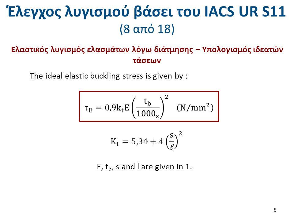 Έλεγχος λυγισμού βάσει του ΙΑCS UR S11 (9 από 18) Ελαστικός λυγισμός ενισχυτικών – Υπολογισμός ιδεατών τάσεων όταν δεν έχω στρεπτικό λυγισμό For the colymn buckling mode (perpendicular to plane of plating) the ideal elastic buckling stress is given by : 9