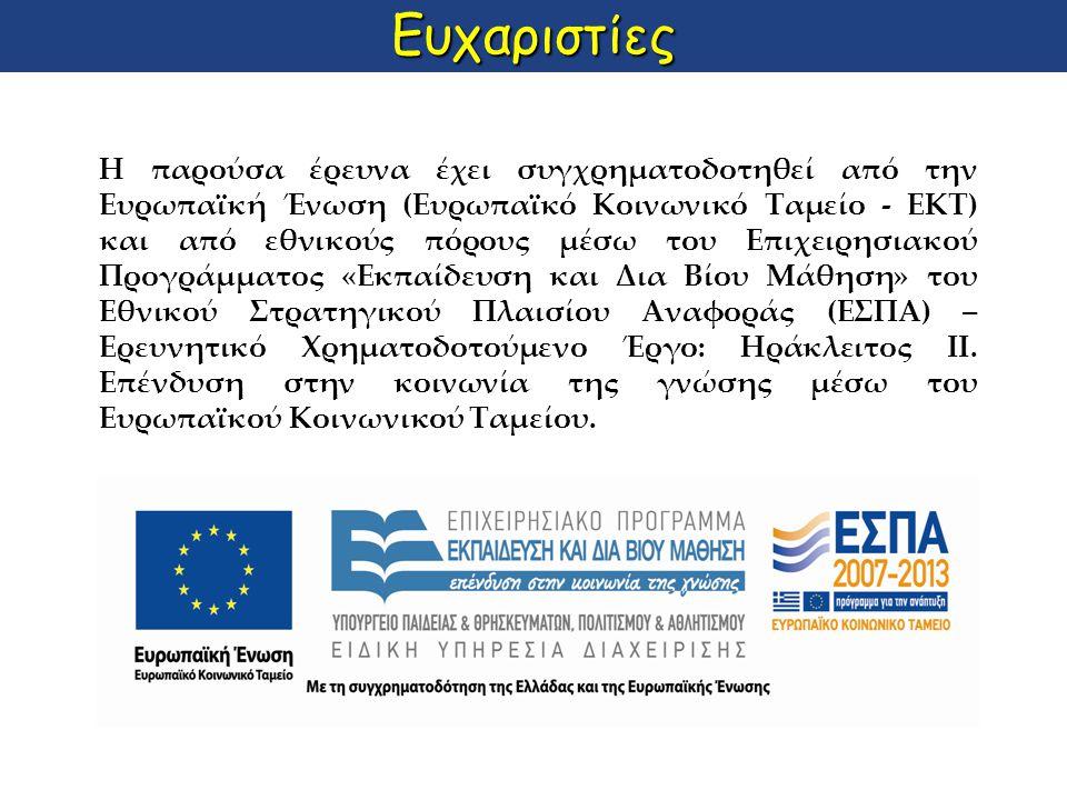 Ευχαριστίες H παρούσα έρευνα έχει συγχρηματοδοτηθεί από την Ευρωπαϊκή Ένωση (Ευρωπαϊκό Κοινωνικό Ταμείο - ΕΚΤ) και από εθνικούς πόρους μέσω του Επιχει