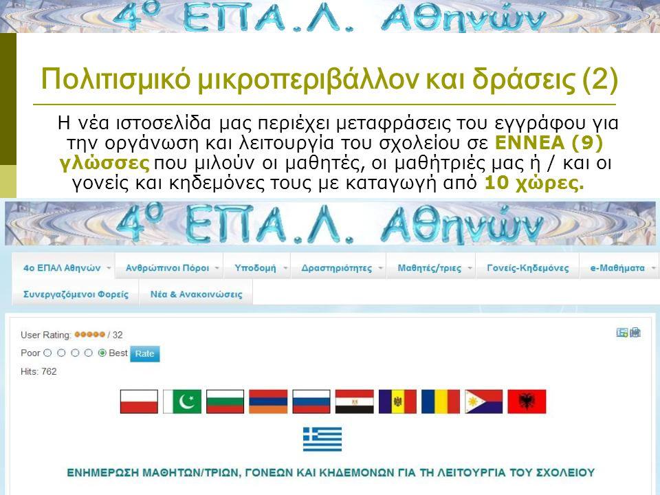 Πολιτισμικό μικροπεριβάλλον και δράσεις (2) Η νέα ιστοσελίδα μας περιέχει μεταφράσεις του εγγράφου για την οργάνωση και λειτουργία του σχολείου σε ΕΝΝΕΑ (9) γλώσσες που μιλούν οι μαθητές, οι μαθήτριές μας ή / και οι γονείς και κηδεμόνες τους με καταγωγή από 10 χώρες.