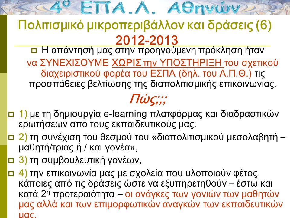Πολιτισμικό μικροπεριβάλλον και δράσεις (6) 2012-2013  Η απάντησή μας στην προηγούμενη πρόκληση ήταν να ΣΥΝΕΧΙΣΟΥΜΕ ΧΩΡΙΣ την ΥΠΟΣΤΗΡΙΞΗ του σχετικού διαχειριστικού φορέα του ΕΣΠΑ (δηλ.