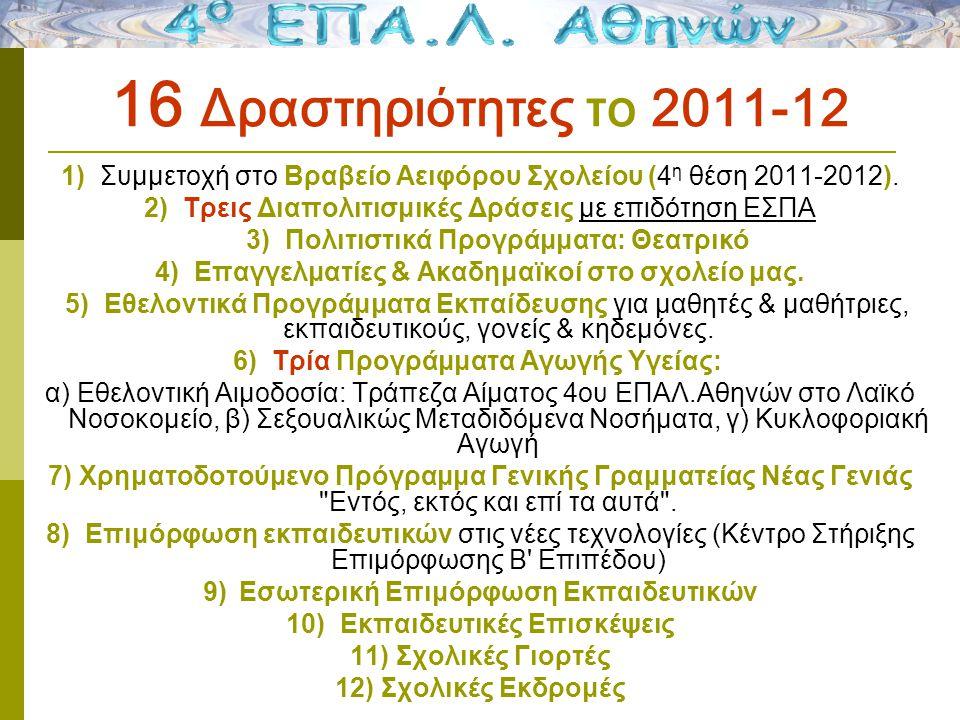 16 Δραστηριότητες το 2011-12 1) Συμμετοχή στο Βραβείο Αειφόρου Σχολείου (4 η θέση 2011-2012).