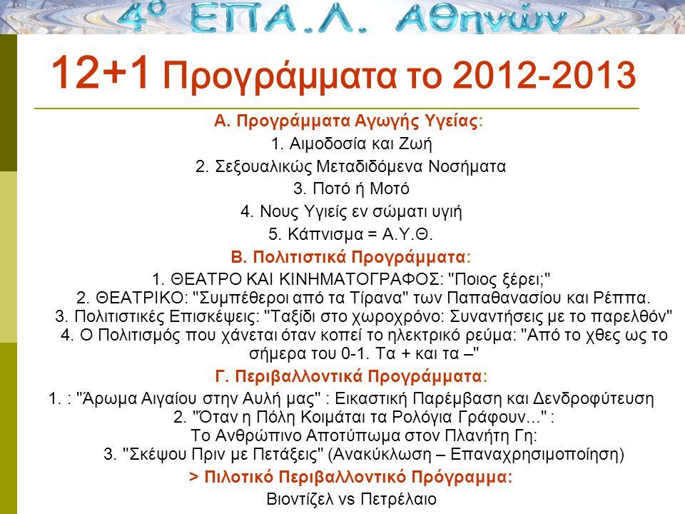 12+1 Προγράμματα το 2012-2013 Α. Προγράμματα Αγωγής Υγείας: 1.