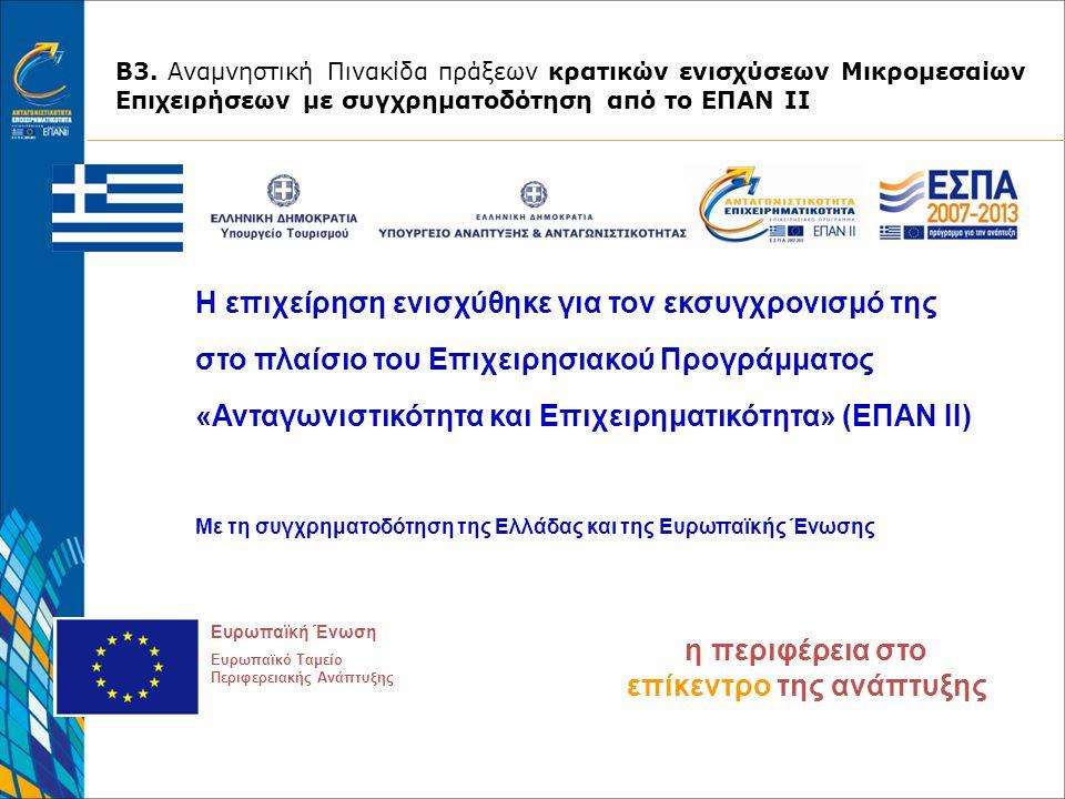 Η επιχείρηση ενισχύθηκε για τον εκσυγχρονισμό της στο πλαίσιο του Επιχειρησιακού Προγράμματος «Ανταγωνιστικότητα και Επιχειρηματικότητα» (ΕΠΑΝ ΙΙ) Με τη συγχρηματοδότηση της Ελλάδας και της Ευρωπαϊκής Ένωσης η περιφέρεια στο επίκεντρο της ανάπτυξης Ευρωπαϊκή Ένωση Ευρωπαϊκό Ταμείο Περιφερειακής Ανάπτυξης Β3.