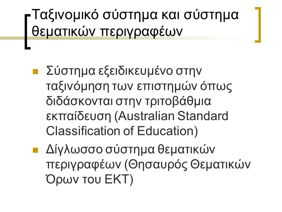 Ταξινομικό σύστημα και σύστημα θεματικών περιγραφέων Σύστημα εξειδικευμένο στην ταξινόμηση των επιστημών όπως διδάσκονται στην τριτοβάθμια εκπαίδευση (Australian Standard Classification of Education) Δίγλωσσο σύστημα θεματικών περιγραφέων (Θησαυρός Θεματικών Όρων του ΕΚΤ)