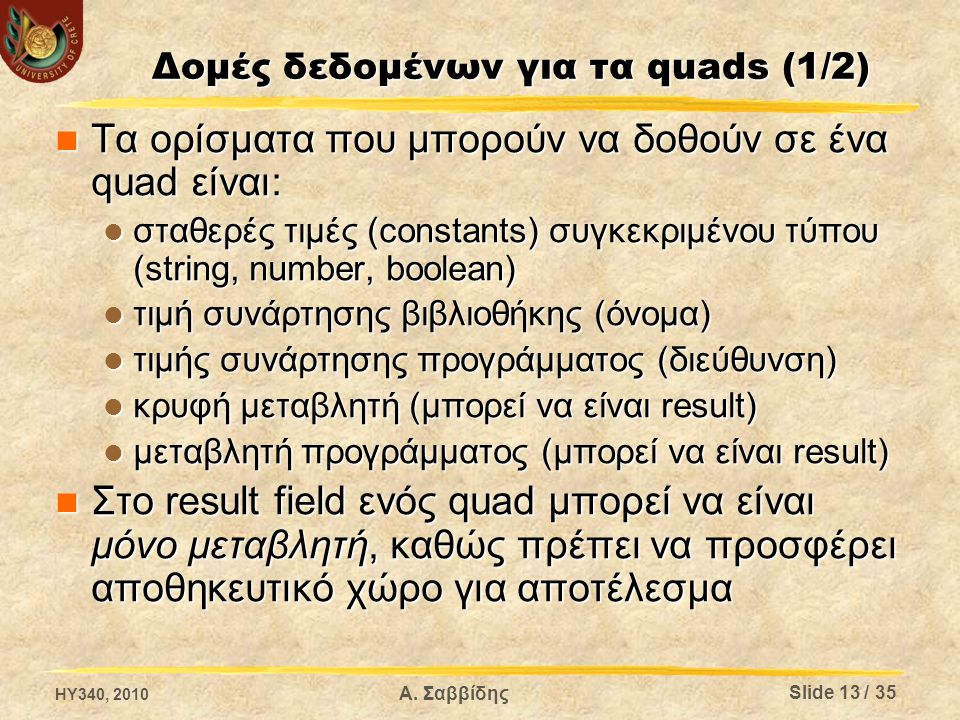 Δομές δεδομένων για τα quads (1/2) Τα ορίσματα που μπορούν να δοθούν σε ένα quad είναι: Τα ορίσματα που μπορούν να δοθούν σε ένα quad είναι: σταθερές τιμές (constants) συγκεκριμένου τύπου (string, number, boolean) σταθερές τιμές (constants) συγκεκριμένου τύπου (string, number, boolean) τιμή συνάρτησης βιβλιοθήκης (όνομα) τιμή συνάρτησης βιβλιοθήκης (όνομα) τιμής συνάρτησης προγράμματος (διεύθυνση) τιμής συνάρτησης προγράμματος (διεύθυνση) κρυφή μεταβλητή (μπορεί να είναι result) κρυφή μεταβλητή (μπορεί να είναι result) μεταβλητή προγράμματος (μπορεί να είναι result) μεταβλητή προγράμματος (μπορεί να είναι result) Στο result field ενός quad μπορεί να είναι μόνο μεταβλητή, καθώς πρέπει να προσφέρει αποθηκευτικό χώρο για αποτέλεσμα Στο result field ενός quad μπορεί να είναι μόνο μεταβλητή, καθώς πρέπει να προσφέρει αποθηκευτικό χώρο για αποτέλεσμα HY340, 2010 Α.