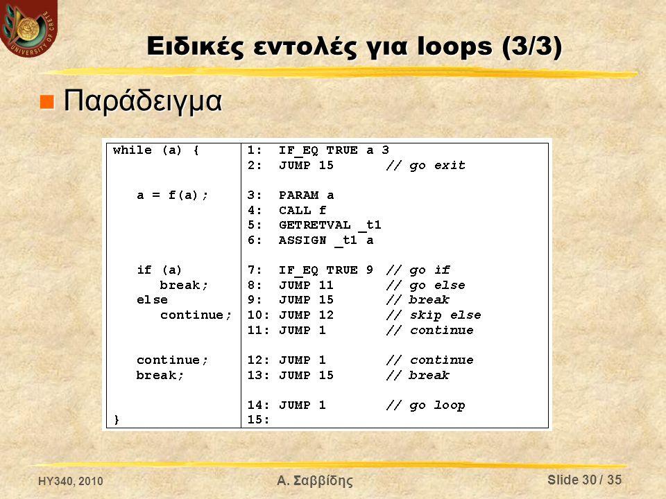 Ειδικές εντολές για loops (3/3) Παράδειγμα Παράδειγμα HY340, 2010 Α. Σαββίδης Slide 30 / 35