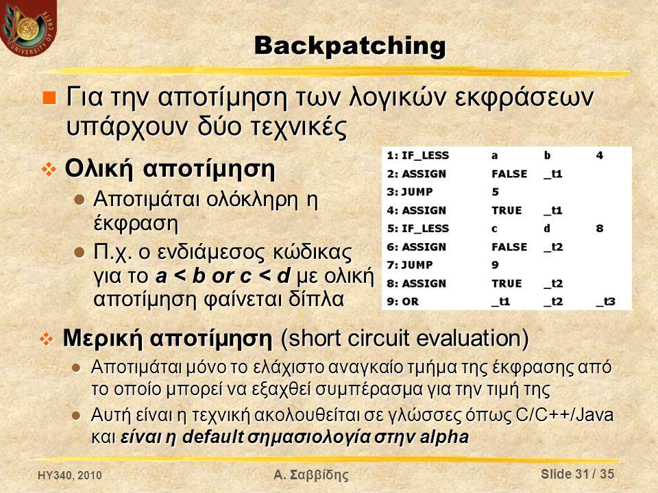Backpatching  Ολική αποτίμηση Αποτιμάται ολόκληρη η έκφραση Αποτιμάται ολόκληρη η έκφραση Π.χ. ο ενδιάμεσος κώδικας για το a < b or c < d με ολική απ