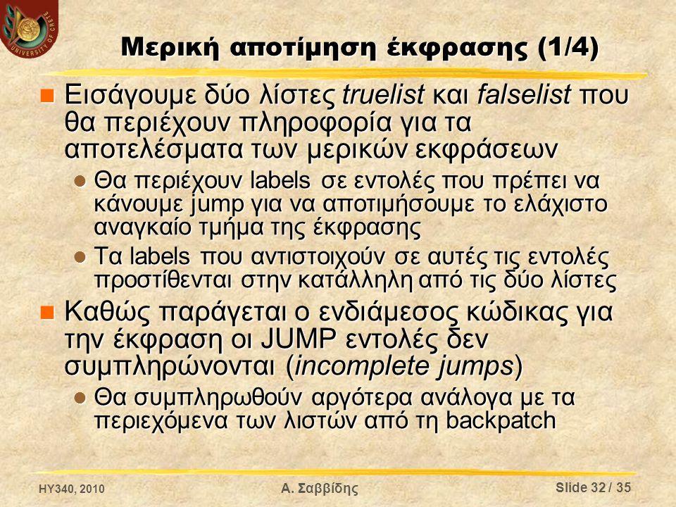 Μερική αποτίμηση έκφρασης (1/4) Εισάγουμε δύο λίστες truelist και falselist που θα περιέχουν πληροφορία για τα αποτελέσματα των μερικών εκφράσεων Εισά