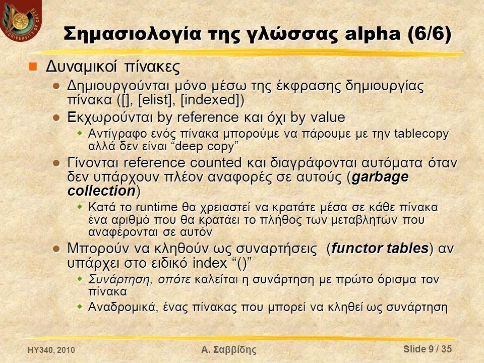 Σημασιολογία της γλώσσας alpha (6/6) Δυναμικοί πίνακες Δυναμικοί πίνακες Δημιουργούνται μόνο μέσω της έκφρασης δημιουργίας πίνακα ([], [elist], [indexed]) Δημιουργούνται μόνο μέσω της έκφρασης δημιουργίας πίνακα ([], [elist], [indexed]) Εκχωρούνται by reference και όχι by value Εκχωρούνται by reference και όχι by value  Αντίγραφο ενός πίνακα μπορούμε να πάρουμε με την tablecopy αλλά δεν είναι deep copy Γίνονται reference counted και διαγράφονται αυτόματα όταν δεν υπάρχουν πλέον αναφορές σε αυτούς (garbage collection) Γίνονται reference counted και διαγράφονται αυτόματα όταν δεν υπάρχουν πλέον αναφορές σε αυτούς (garbage collection)  Κατά το runtime θα χρειαστεί να κρατάτε μέσα σε κάθε πίνακα ένα αριθμό που θα κρατάει το πλήθος των μεταβλητών που αναφέρονται σε αυτόν Μπορούν να κληθούν ως συναρτήσεις (functor tables) αν υπάρχει στο ειδικό index () Μπορούν να κληθούν ως συναρτήσεις (functor tables) αν υπάρχει στο ειδικό index ()  Συνάρτηση, οπότε καλείται η συνάρτηση με πρώτο όρισμα τον πίνακα  Αναδρομικά, ένας πίνακας που μπορεί να κληθεί ως συνάρτηση HY340, 2010 Α.