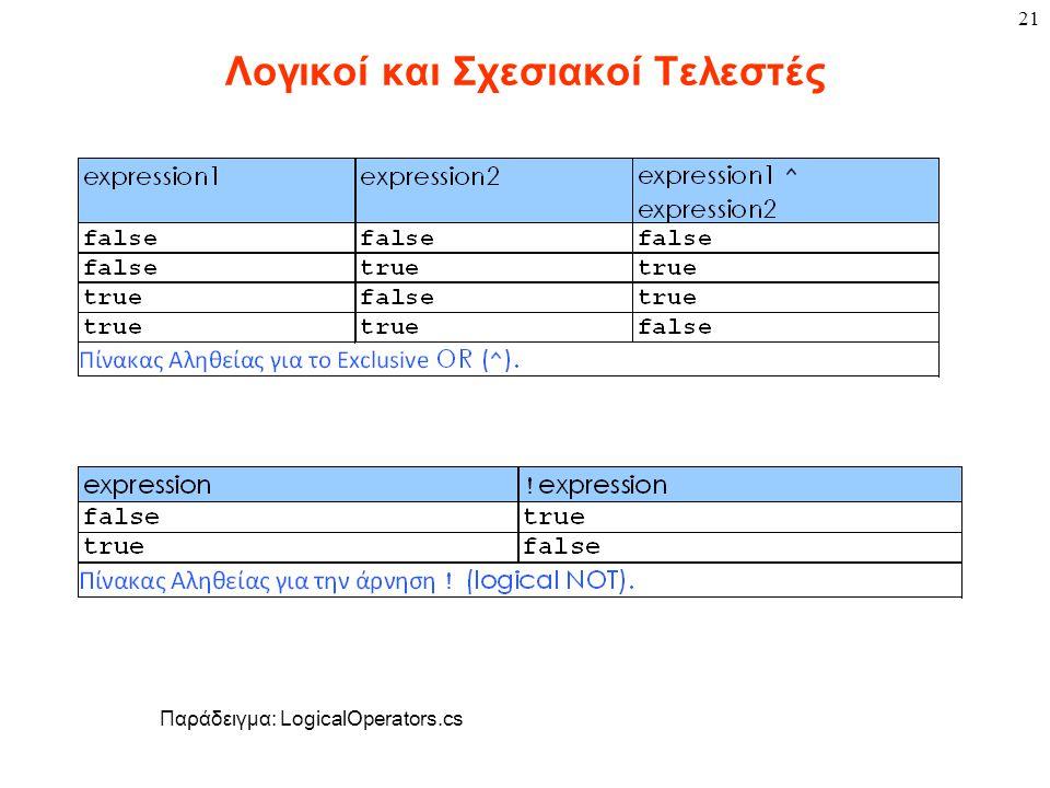 21 Λογικοί και Σχεσιακοί Τελεστές Παράδειγμα: LogicalOperators.cs