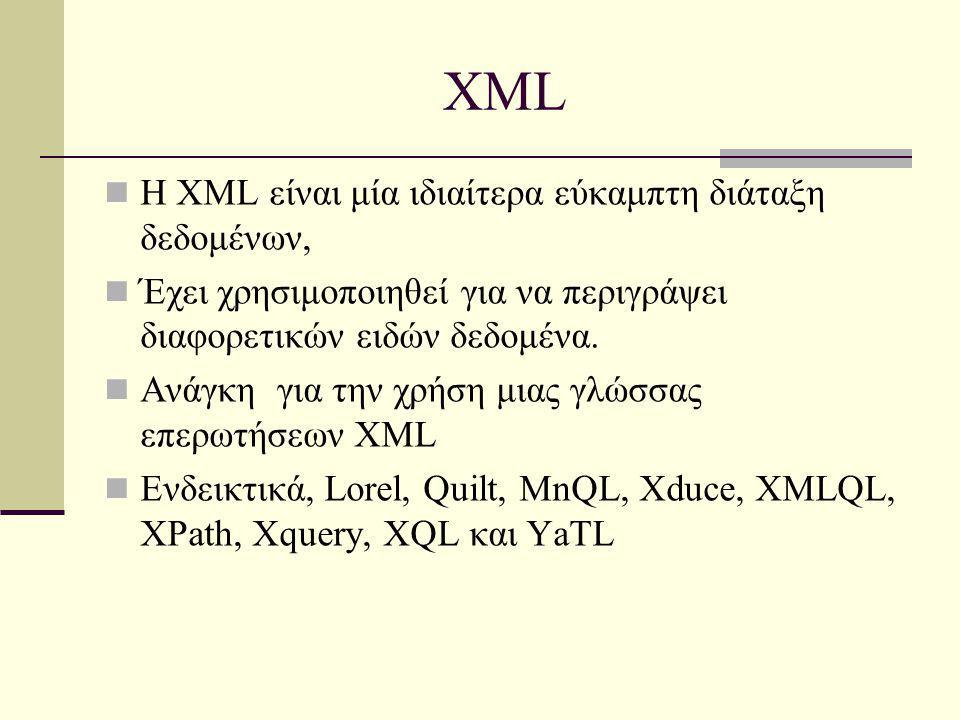 XML Η XML είναι μία ιδιαίτερα εύκαμπτη διάταξη δεδομένων, Έχει χρησιμοποιηθεί για να περιγράψει διαφορετικών ειδών δεδομένα.