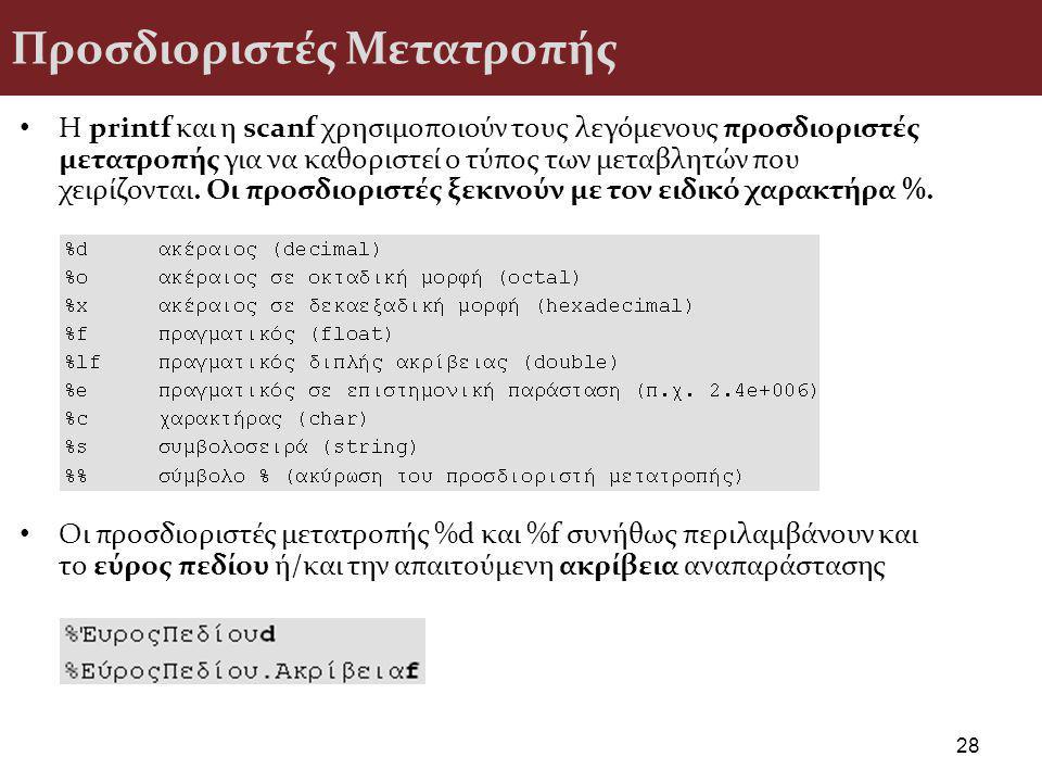 Προσδιοριστές Μετατροπής H printf και η scanf χρησιμοποιούν τους λεγόμενους προσδιοριστές μετατροπής για να καθοριστεί ο τύπος των μεταβλητών που χειρίζονται.