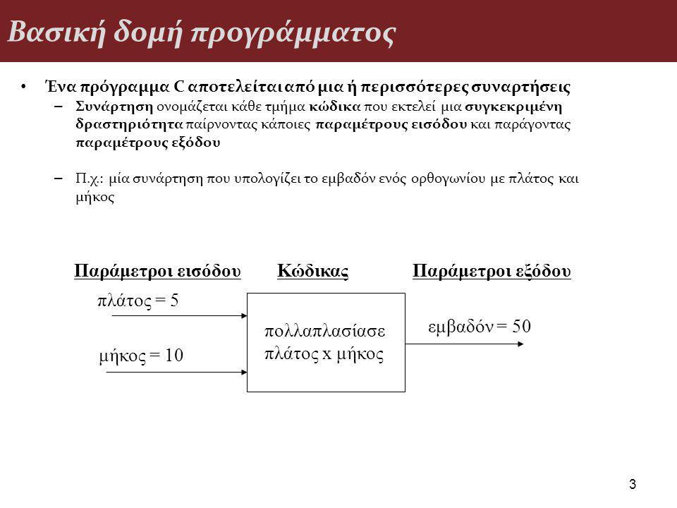 Βασική δομή προγράμματος Ένα πρόγραμμα C αποτελείται από μια ή περισσότερες συναρτήσεις – Συνάρτηση ονομάζεται κάθε τμήμα κώδικα που εκτελεί μια συγκεκριμένη δραστηριότητα παίρνοντας κάποιες παραμέτρους εισόδου και παράγοντας παραμέτρους εξόδου – Π.χ.: μία συνάρτηση που υπολογίζει το εμβαδόν ενός ορθογωνίου με πλάτος και μήκος 3 πολλαπλασίασε πλάτος x μήκος πλάτος = 5 μήκος = 10 εμβαδόν = 50 Παράμετροι εισόδουΚώδικαςΠαράμετροι εξόδου