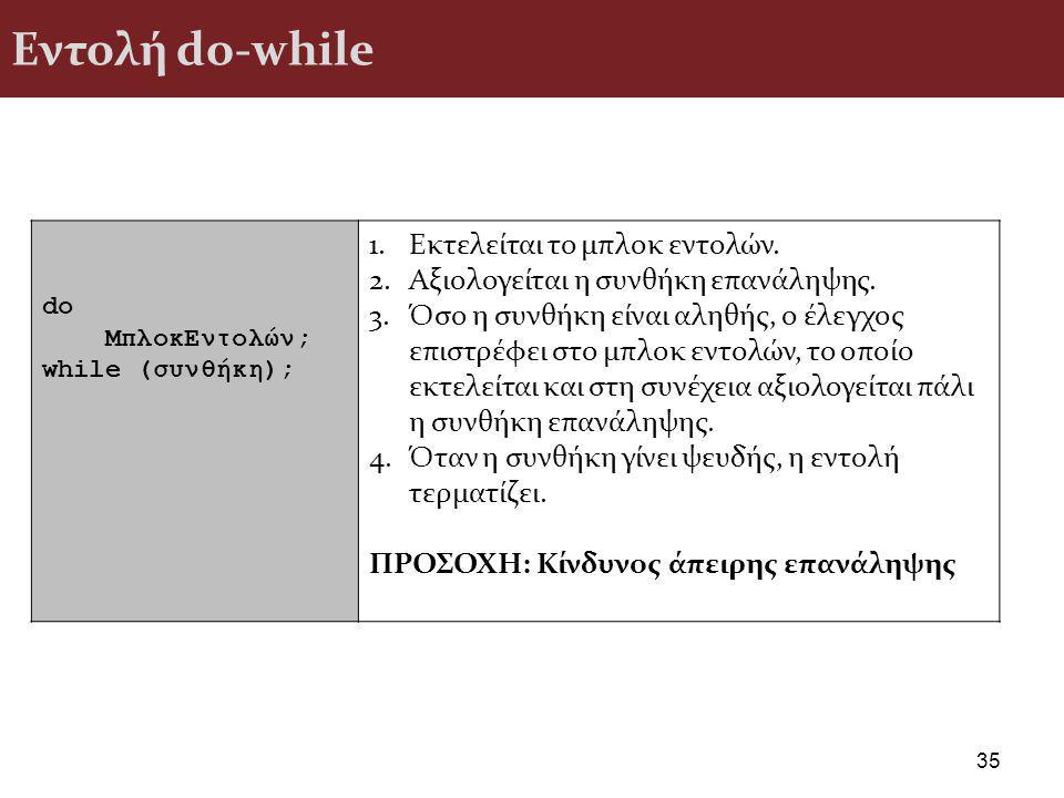 Εντολή do-while 35 do ΜπλοκΕντολών; while (συνθήκη); 1.Εκτελείται το μπλοκ εντολών.