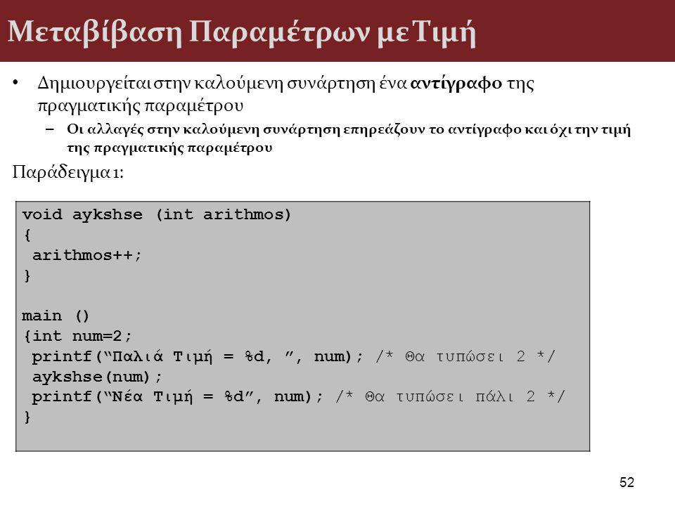 Μεταβίβαση Παραμέτρων με Τιμή Δημιουργείται στην καλούμενη συνάρτηση ένα αντίγραφο της πραγματικής παραμέτρου – Οι αλλαγές στην καλούμενη συνάρτηση επηρεάζουν το αντίγραφο και όχι την τιμή της πραγματικής παραμέτρου Παράδειγμα 1: 52 void aykshse (int arithmos) { arithmos++; } main () {int num=2; printf( Παλιά Τιμή = %d, , num); /* Θα τυπώσει 2 */ aykshse(num); printf( Νέα Τιμή = %d , num); /* Θα τυπώσει πάλι 2 */ }