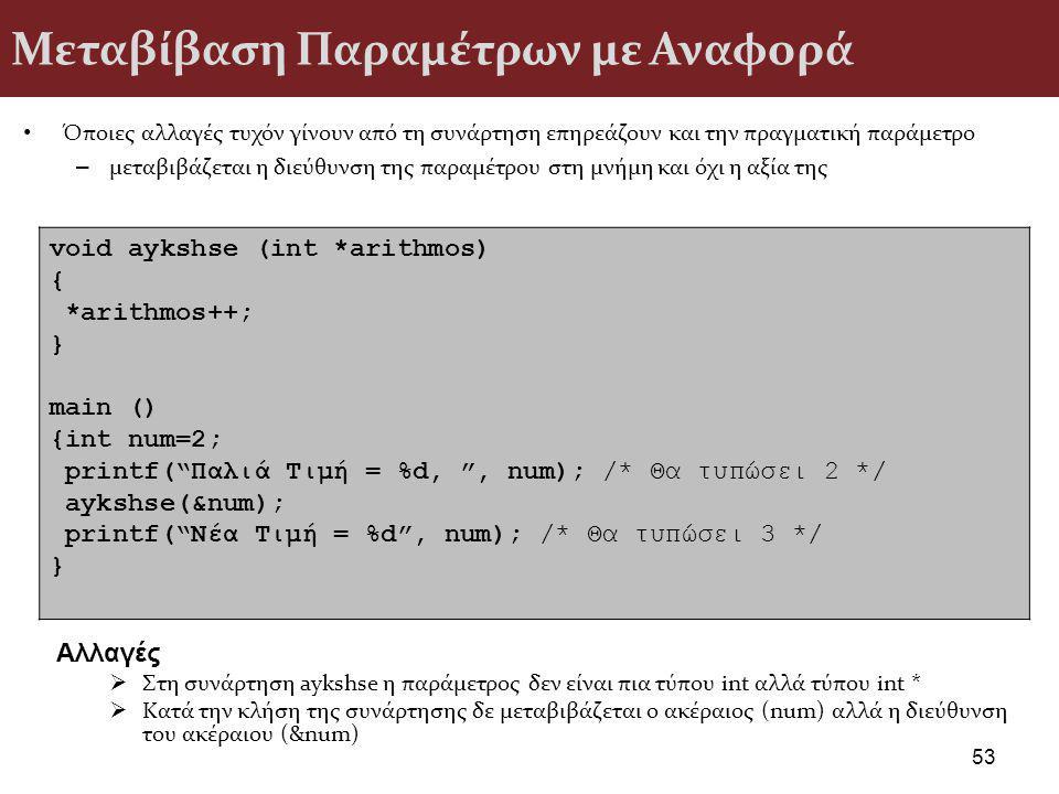 Μεταβίβαση Παραμέτρων με Αναφορά Όποιες αλλαγές τυχόν γίνουν από τη συνάρτηση επηρεάζουν και την πραγματική παράμετρο – μεταβιβάζεται η διεύθυνση της παραμέτρου στη μνήμη και όχι η αξία της 53 void aykshse (int *arithmos) { *arithmos++; } main () {int num=2; printf( Παλιά Τιμή = %d, , num); /* Θα τυπώσει 2 */ aykshse(&num); printf( Νέα Τιμή = %d , num); /* Θα τυπώσει 3 */ } Αλλαγές  Στη συνάρτηση aykshse η παράμετρος δεν είναι πια τύπου int αλλά τύπου int *  Κατά την κλήση της συνάρτησης δε μεταβιβάζεται ο ακέραιος (num) αλλά η διεύθυνση του ακέραιου (&num)