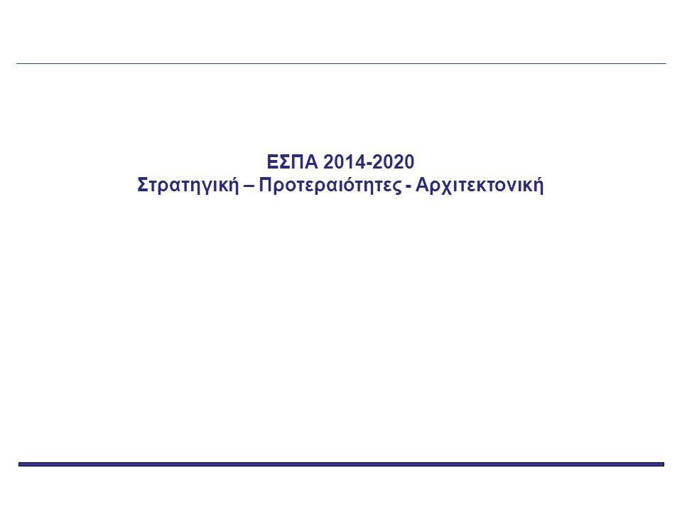 Χρονοδιάγραμμα υποβολής και έγκρισης του Εταιρικού Συμφώνου για το Πλαίσιο Ανάπτυξης (ΕΣΠΑ) 2014-2020 Άτυπες υποβολές σχεδίου ΕΣΠΑ 2014-2020 και διαβούλευση με ΕΕ (21/8, 1/10/2013) 9 Δεκεμβρίου 2013 : ανεπίσημη υποβολή σχεδίου ΕΣΠΑ 2014-2020 20 Δεκεμβρίου 2013 : δημοσίευση Γενικού Κανονισμού και Κανονισμών Ταμείων πλην ΕΤΘΑ 31 Ιανουαρίου 2014 : σχόλια της Ε.Ε.