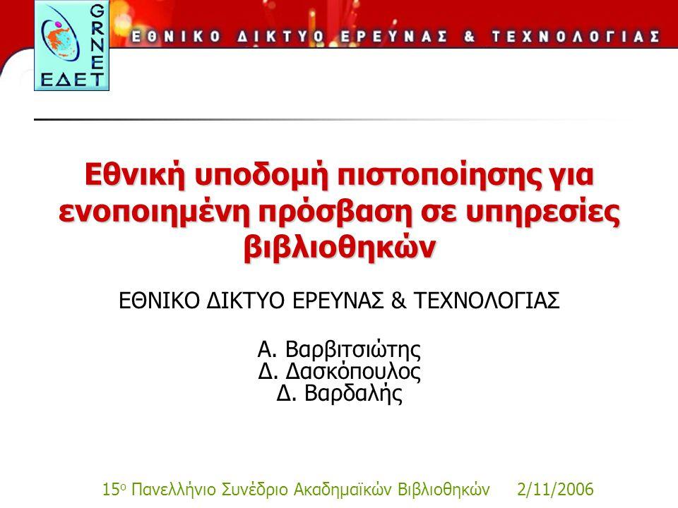 15 ο Πανελλήνιο Συνέδριο Ακαδημαϊκών Βιβλιοθηκών 2/11/2006 Εθνική υποδομή πιστοποίησης για ενοποιημένη πρόσβαση σε υπηρεσίες βιβλιοθηκών ΕΘΝΙΚΟ ΔΙΚΤΥΟ ΕΡΕΥΝΑΣ & ΤΕΧΝΟΛΟΓΙΑΣ Α.