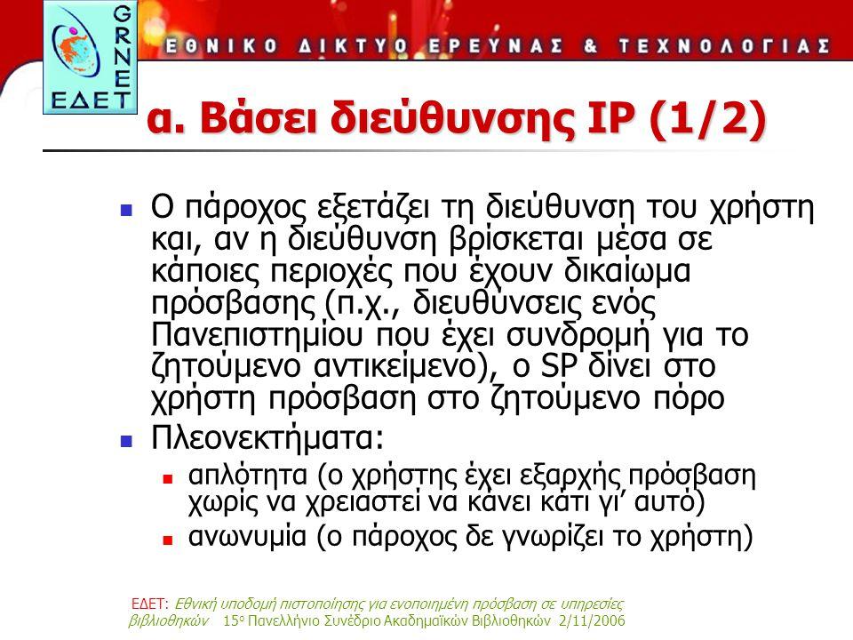 ΕΔΕΤ: Εθνική υποδομή πιστοποίησης για ενοποιημένη πρόσβαση σε υπηρεσίες βιβλιοθηκών 15 ο Πανελλήνιο Συνέδριο Ακαδημαϊκών Βιβλιοθηκών 2/11/2006 α. Βάσε