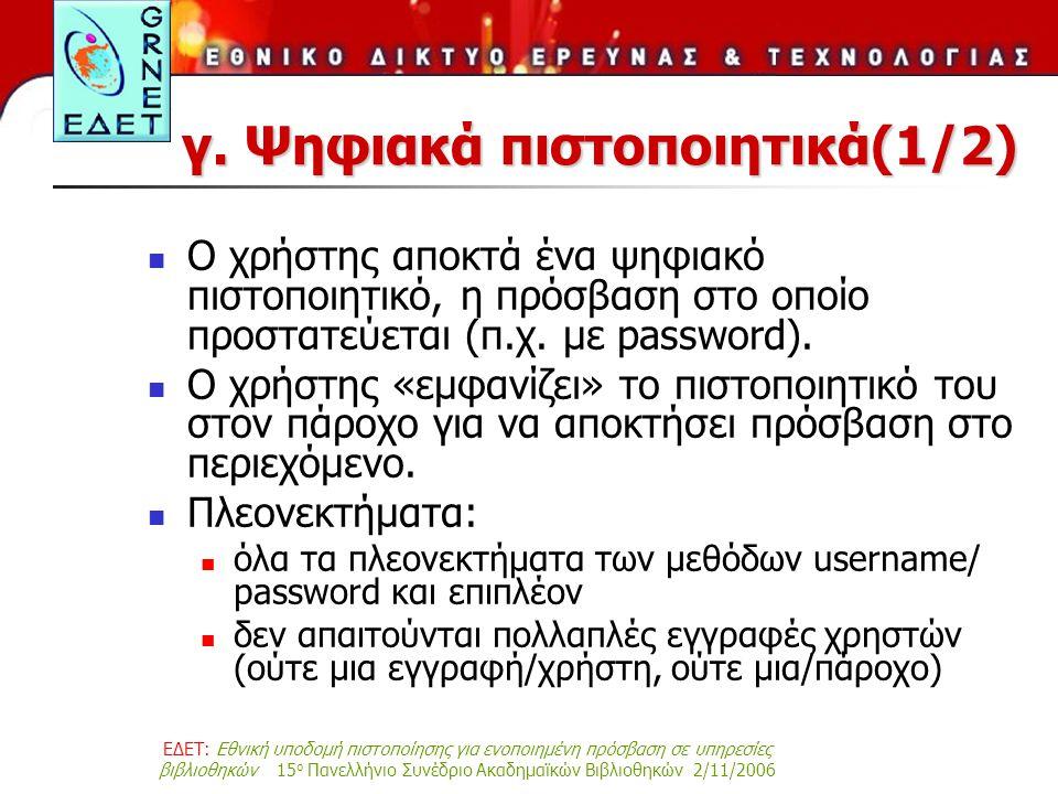 ΕΔΕΤ: Εθνική υποδομή πιστοποίησης για ενοποιημένη πρόσβαση σε υπηρεσίες βιβλιοθηκών 15 ο Πανελλήνιο Συνέδριο Ακαδημαϊκών Βιβλιοθηκών 2/11/2006 γ.