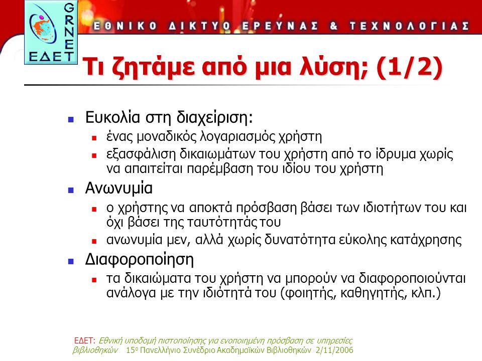 ΕΔΕΤ: Εθνική υποδομή πιστοποίησης για ενοποιημένη πρόσβαση σε υπηρεσίες βιβλιοθηκών 15 ο Πανελλήνιο Συνέδριο Ακαδημαϊκών Βιβλιοθηκών 2/11/2006 Τι ζητάμε από μια λύση; (1/2) Ευκολία στη διαχείριση: ένας μοναδικός λογαριασμός χρήστη εξασφάλιση δικαιωμάτων του χρήστη από το ίδρυμα χωρίς να απαιτείται παρέμβαση του ιδίου του χρήστη Ανωνυμία ο χρήστης να αποκτά πρόσβαση βάσει των ιδιοτήτων του και όχι βάσει της ταυτότητάς του ανωνυμία μεν, αλλά χωρίς δυνατότητα εύκολης κατάχρησης Διαφοροποίηση τα δικαιώματα του χρήστη να μπορούν να διαφοροποιούνται ανάλογα με την ιδιότητά του (φοιητής, καθηγητής, κλπ.)