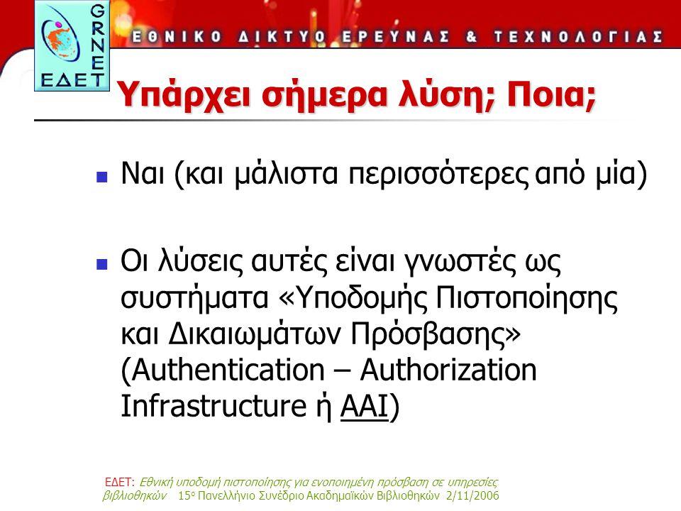 ΕΔΕΤ: Εθνική υποδομή πιστοποίησης για ενοποιημένη πρόσβαση σε υπηρεσίες βιβλιοθηκών 15 ο Πανελλήνιο Συνέδριο Ακαδημαϊκών Βιβλιοθηκών 2/11/2006 Υπάρχει σήμερα λύση; Ποια; Ναι (και μάλιστα περισσότερες από μία) Οι λύσεις αυτές είναι γνωστές ως συστήματα «Υποδομής Πιστοποίησης και Δικαιωμάτων Πρόσβασης» (Authentication – Authorization Infrastructure ή AAI)