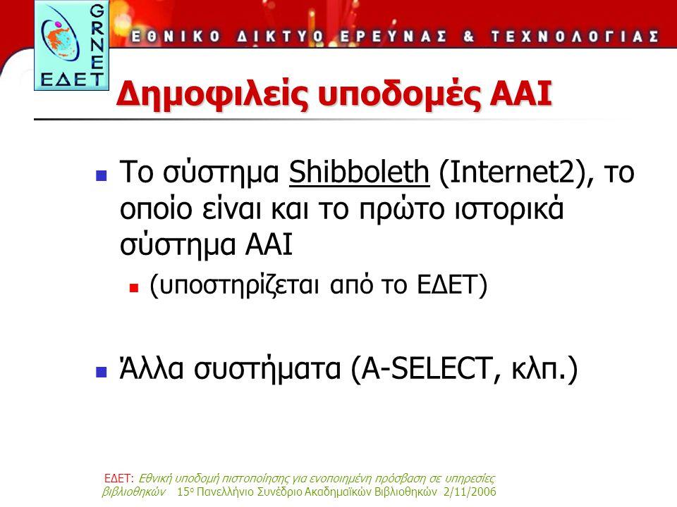 ΕΔΕΤ: Εθνική υποδομή πιστοποίησης για ενοποιημένη πρόσβαση σε υπηρεσίες βιβλιοθηκών 15 ο Πανελλήνιο Συνέδριο Ακαδημαϊκών Βιβλιοθηκών 2/11/2006 Δημοφιλείς υποδομές AAI Το σύστημα Shibboleth (Internet2), το οποίο είναι και το πρώτο ιστορικά σύστημα AAI (υποστηρίζεται από το ΕΔΕΤ) Άλλα συστήματα (A-SELECT, κλπ.)