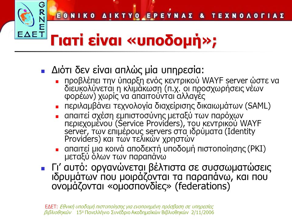 ΕΔΕΤ: Εθνική υποδομή πιστοποίησης για ενοποιημένη πρόσβαση σε υπηρεσίες βιβλιοθηκών 15 ο Πανελλήνιο Συνέδριο Ακαδημαϊκών Βιβλιοθηκών 2/11/2006 Γιατί είναι «υποδομή»; Διότι δεν είναι απλώς μία υπηρεσία: προβλέπει την ύπαρξη ενός κεντρικού WAYF server ώστε να διευκολύνεται η κλιμάκωση (π.χ.