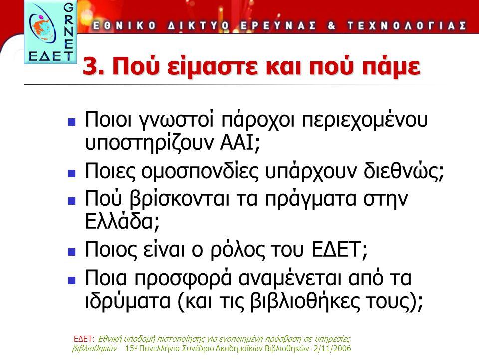 ΕΔΕΤ: Εθνική υποδομή πιστοποίησης για ενοποιημένη πρόσβαση σε υπηρεσίες βιβλιοθηκών 15 ο Πανελλήνιο Συνέδριο Ακαδημαϊκών Βιβλιοθηκών 2/11/2006 3. Πού