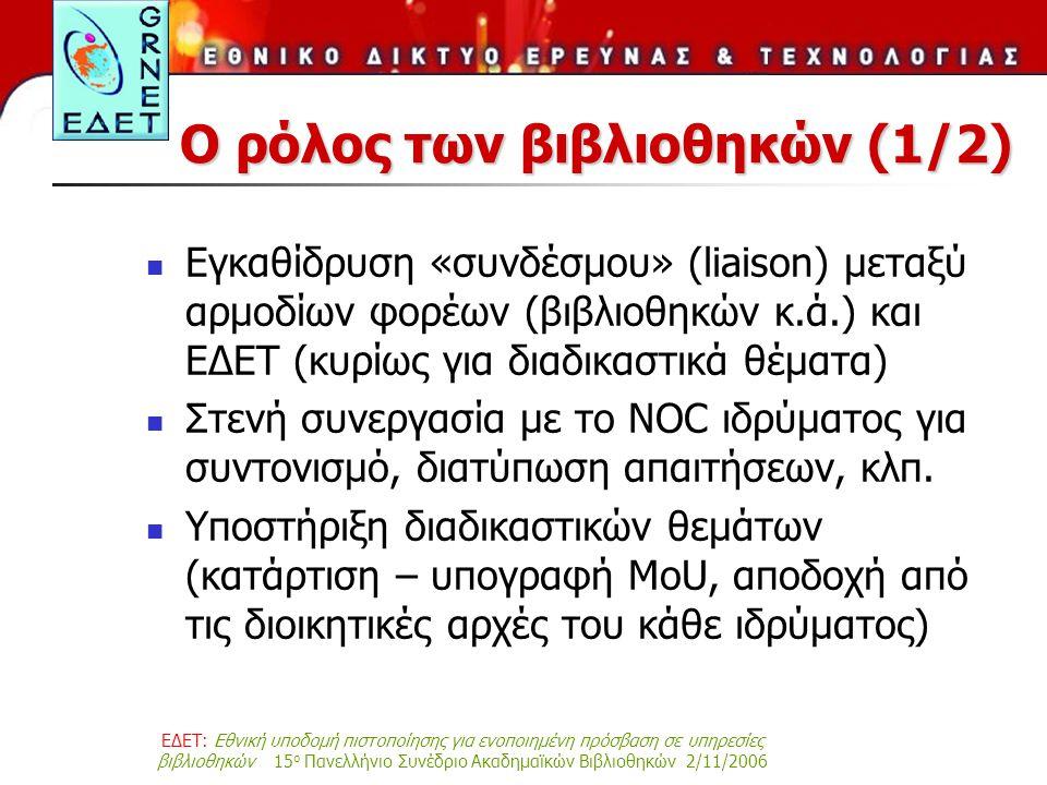 ΕΔΕΤ: Εθνική υποδομή πιστοποίησης για ενοποιημένη πρόσβαση σε υπηρεσίες βιβλιοθηκών 15 ο Πανελλήνιο Συνέδριο Ακαδημαϊκών Βιβλιοθηκών 2/11/2006 Ο ρόλος των βιβλιοθηκών (1/2) Εγκαθίδρυση «συνδέσμου» (liaison) μεταξύ αρμοδίων φορέων (βιβλιοθηκών κ.ά.) και ΕΔΕΤ (κυρίως για διαδικαστικά θέματα) Στενή συνεργασία με το NOC ιδρύματος για συντονισμό, διατύπωση απαιτήσεων, κλπ.