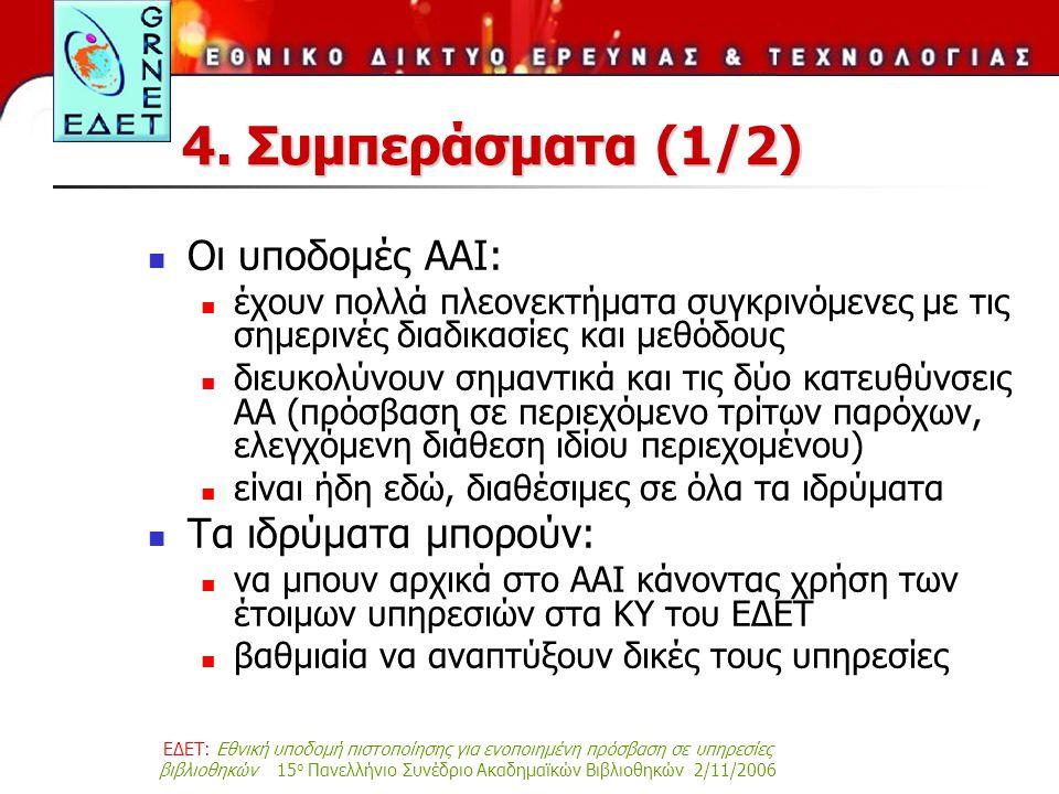 ΕΔΕΤ: Εθνική υποδομή πιστοποίησης για ενοποιημένη πρόσβαση σε υπηρεσίες βιβλιοθηκών 15 ο Πανελλήνιο Συνέδριο Ακαδημαϊκών Βιβλιοθηκών 2/11/2006 4. Συμπ