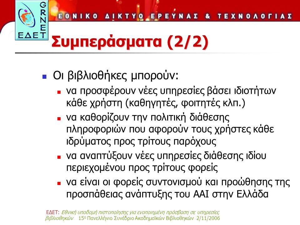 ΕΔΕΤ: Εθνική υποδομή πιστοποίησης για ενοποιημένη πρόσβαση σε υπηρεσίες βιβλιοθηκών 15 ο Πανελλήνιο Συνέδριο Ακαδημαϊκών Βιβλιοθηκών 2/11/2006 Συμπεράσματα (2/2) Οι βιβλιοθήκες μπορούν: να προσφέρουν νέες υπηρεσίες βάσει ιδιοτήτων κάθε χρήστη (καθηγητές, φοιτητές κλπ.) να καθορίζουν την πολιτική διάθεσης πληροφοριών που αφορούν τους χρήστες κάθε ιδρύματος προς τρίτους παρόχους να αναπτύξουν νέες υπηρεσίες διάθεσης ιδίου περιεχομένου προς τρίτους φορείς να είναι οι φορείς συντονισμού και προώθησης της προσπάθειας ανάπτυξης του AAI στην Ελλάδα