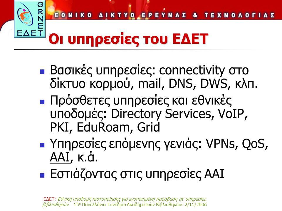 ΕΔΕΤ: Εθνική υποδομή πιστοποίησης για ενοποιημένη πρόσβαση σε υπηρεσίες βιβλιοθηκών 15 ο Πανελλήνιο Συνέδριο Ακαδημαϊκών Βιβλιοθηκών 2/11/2006 Οι υπηρεσίες του ΕΔΕΤ Βασικές υπηρεσίες: connectivity στο δίκτυο κορμού, mail, DNS, DWS, κλπ.
